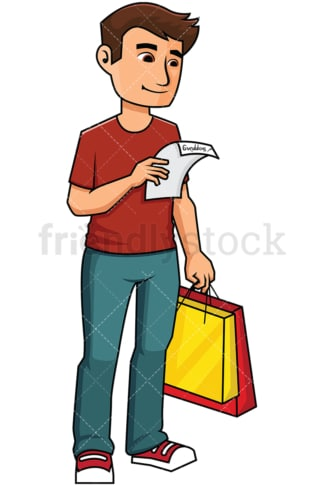 Man holding a shopping list - Image isolated on transparent background. PNG