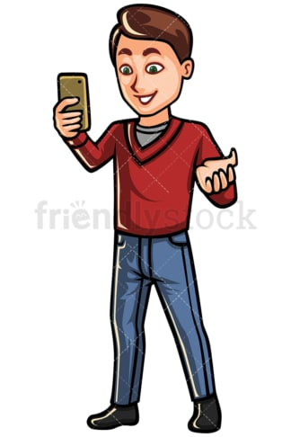 Man video chatting on mobile phone - Image isolated on white background. Transparent PNG and vector (infinitely scalable) EPS