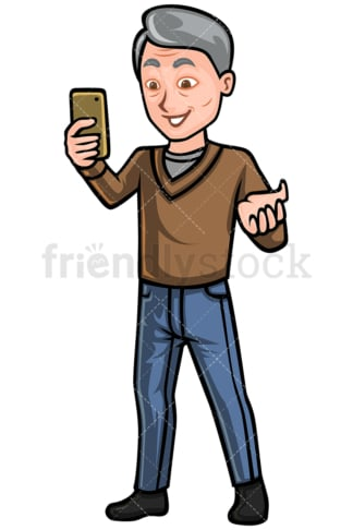 Mature man video calling with cellphone - Image isolated on white background. Transparent PNG and vector (infinitely scalable) EPS, PDF.
