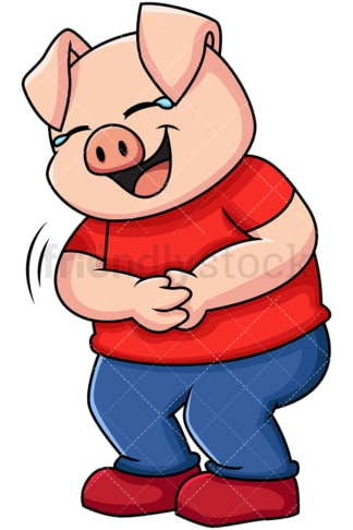 Pig laughing out loud - Image isolated on transparent background. PNG
