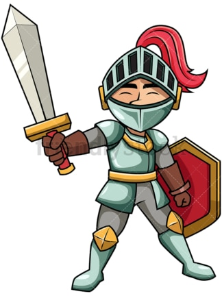 Victorious knight raising sword. PNG - JPG and vector EPS file formats (infinitely scalable). Image isolated on transparent background.