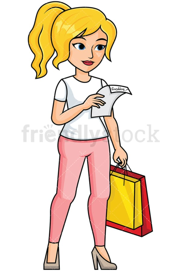 Woman reading shopping list - Image isolated on transparent background. PNG