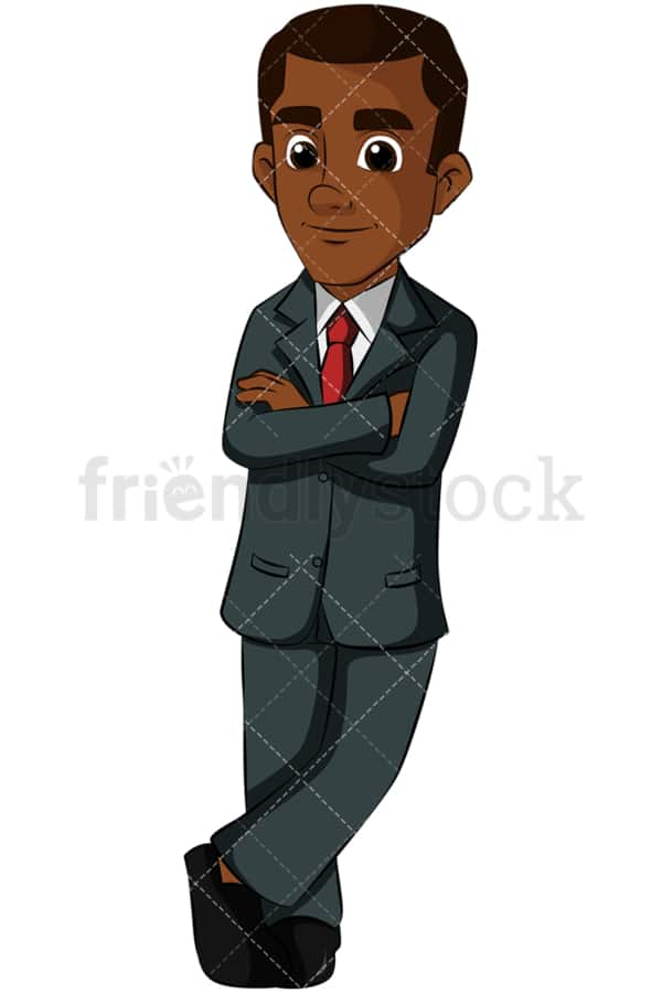 Young black business man leaning - Image isolated on transparent background. PNG