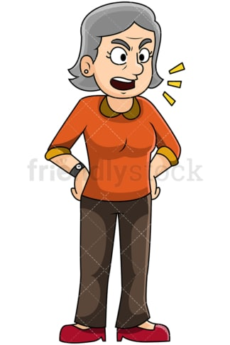 Angry mature woman talking - Image isolated on transparent background. PNG
