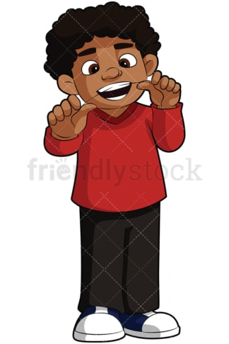 Black boy flossing his teeth - Image isolated on transparent background. PNG