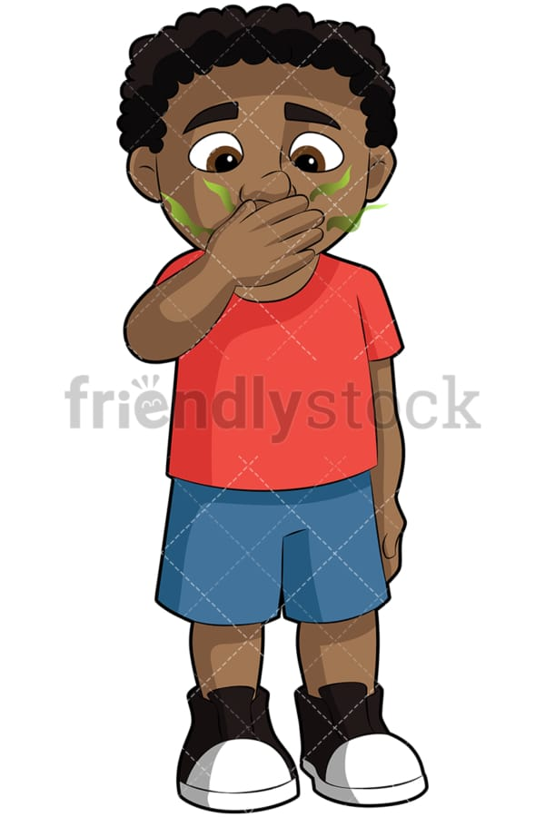 Black boy with bad breath - Image isolated on transparent background. PNG