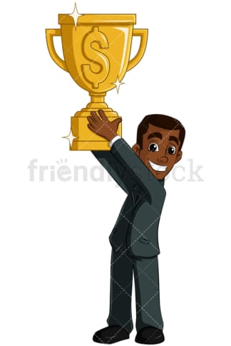 Black business man gold trophy - Image isolated on transparent background. PNG