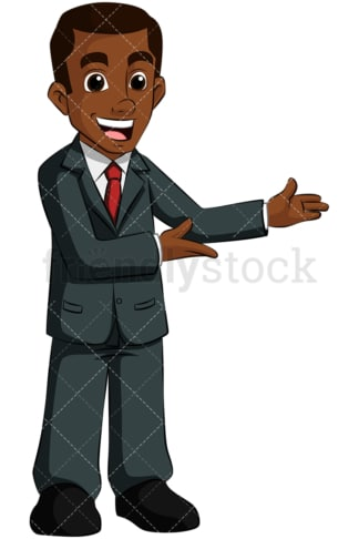 Black business man pointing side - Image isolated on transparent background. PNG