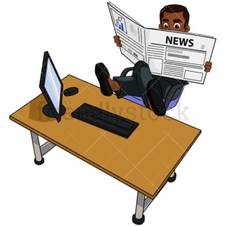 Black business man reading newspaper - Image isolated on transparent background. PNG