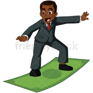 Black business man surfing on money bill - Image isolated on transparent background. PNG