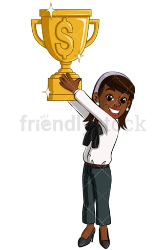 Black business woman gold trophy - Image isolated on transparent background. PNG