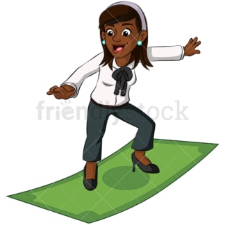 Black business woman surfing on money - Image isolated on transparent background. PNG