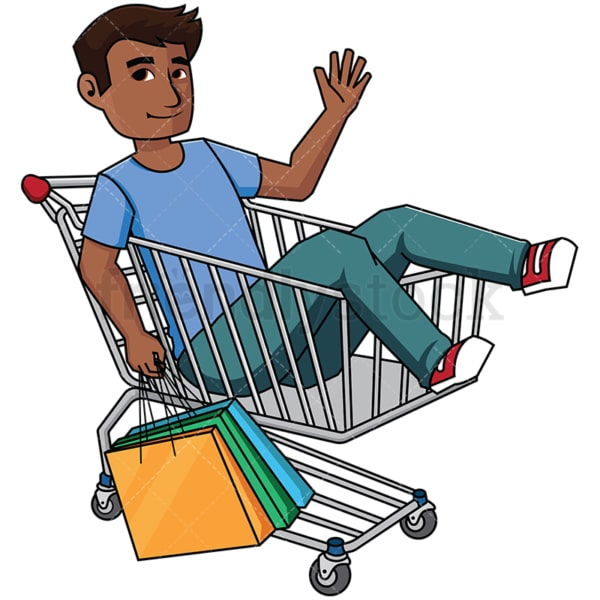 Black man inside shopping cart - Image isolated on transparent background. PNG