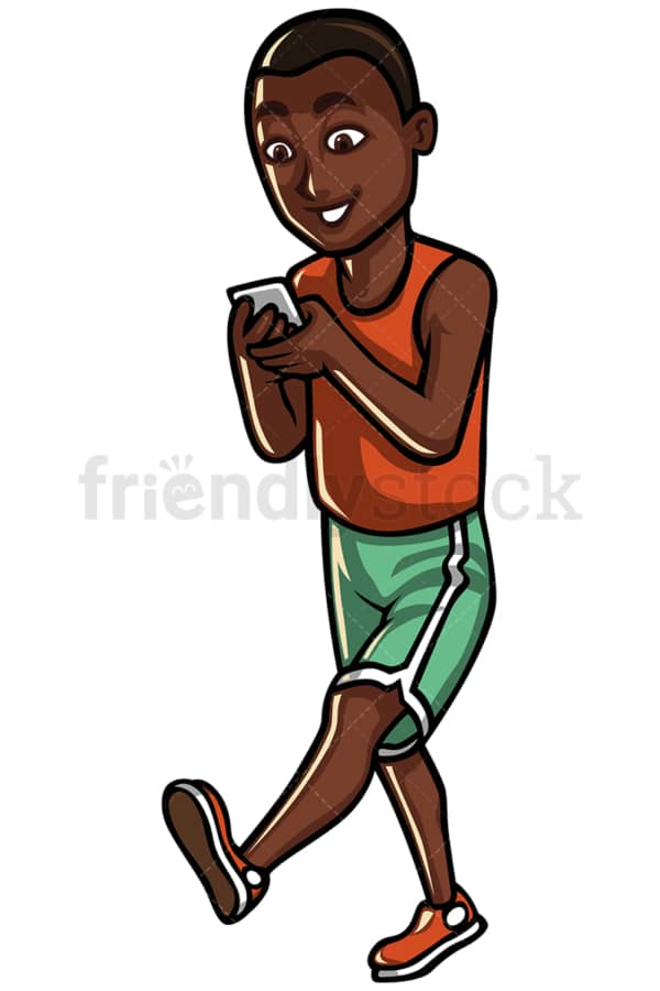 Black man texting while walking - Image isolated on white background. Transparent PNG and vector (infinitely scalable) EPS