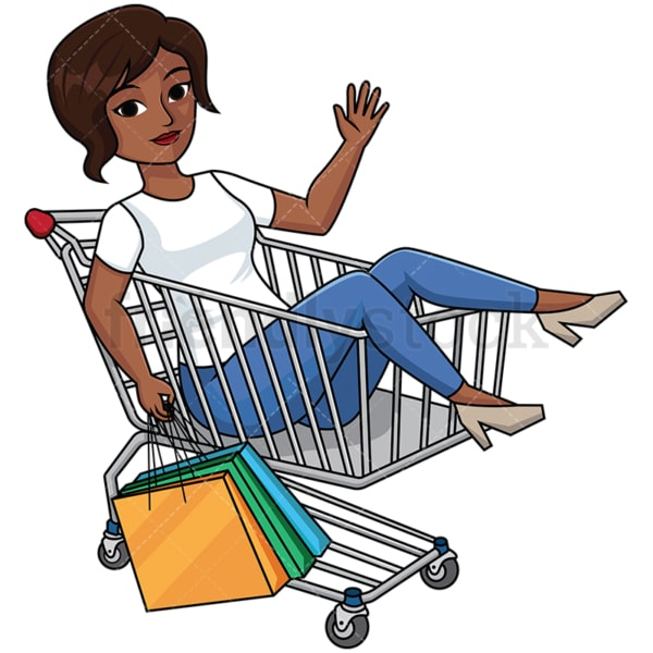 Black woman inside shopping cart - Image isolated on transparent background. PNG