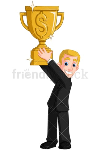 Business man holding gold trophy - Image isolated on transparent background. PNG