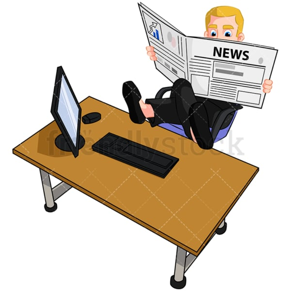 Business man reading newspaper - Image isolated on transparent background. PNG