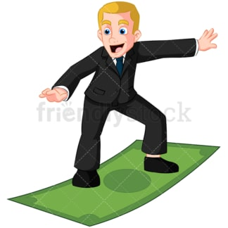 Business man surfing on money bill - Image isolated on transparent background. PNG