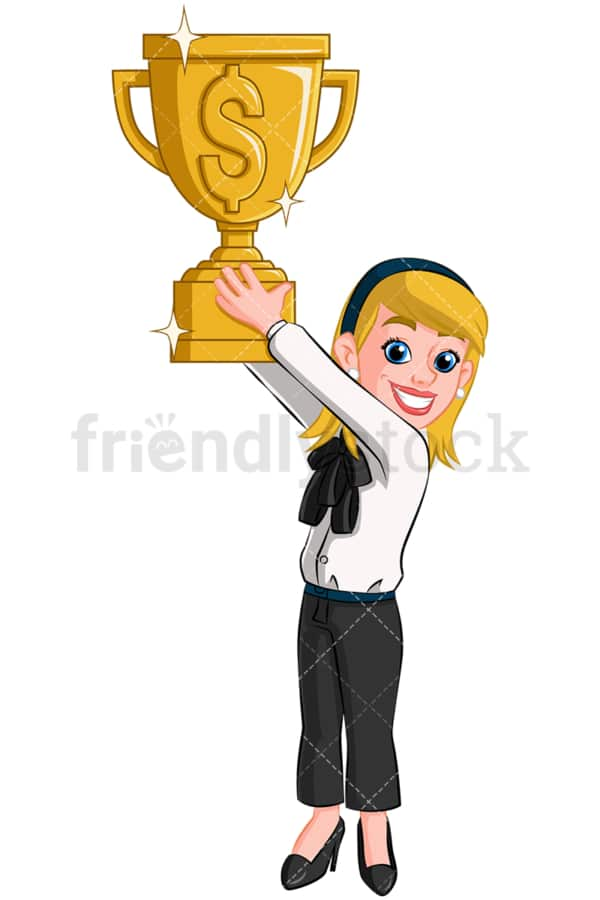 Business woman holding gold trophy - Image isolated on transparent background. PNG