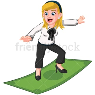 Business woman surfing on money bill - Image isolated on transparent background. PNG