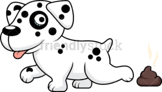 Charming dalmatian dog pooping. PNG - JPG and vector EPS (infinitely scalable).