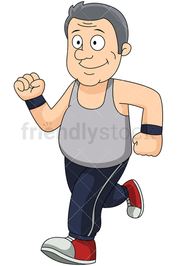 Chubby mature man jogging to lose weight - Image isolated on transparent background. PNG