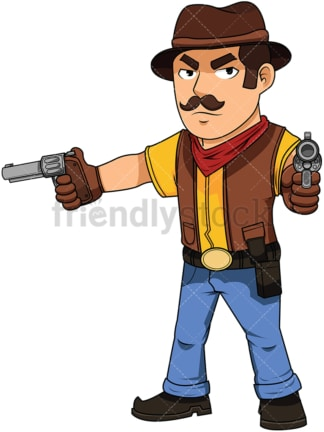 Cowboy pointing his guns after fast draw - Image isolated on white background. Transparent PNG and vector (infinitely scalable) EPS