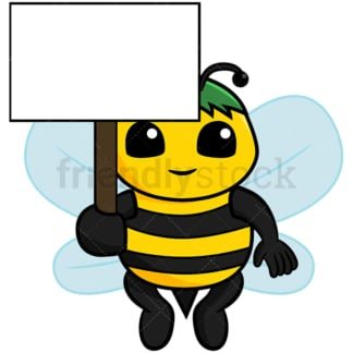 Cute bee holding empty sign - Image isolated on white background. Transparent PNG and vector (infinitely scalable) EPS