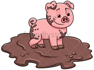 Cute pig getting dirty in swamp - Image isolated on transparent background. PNG
