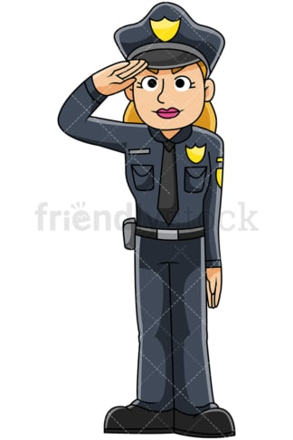 Female police officer saluting - Image isolated on transparent background. PNG