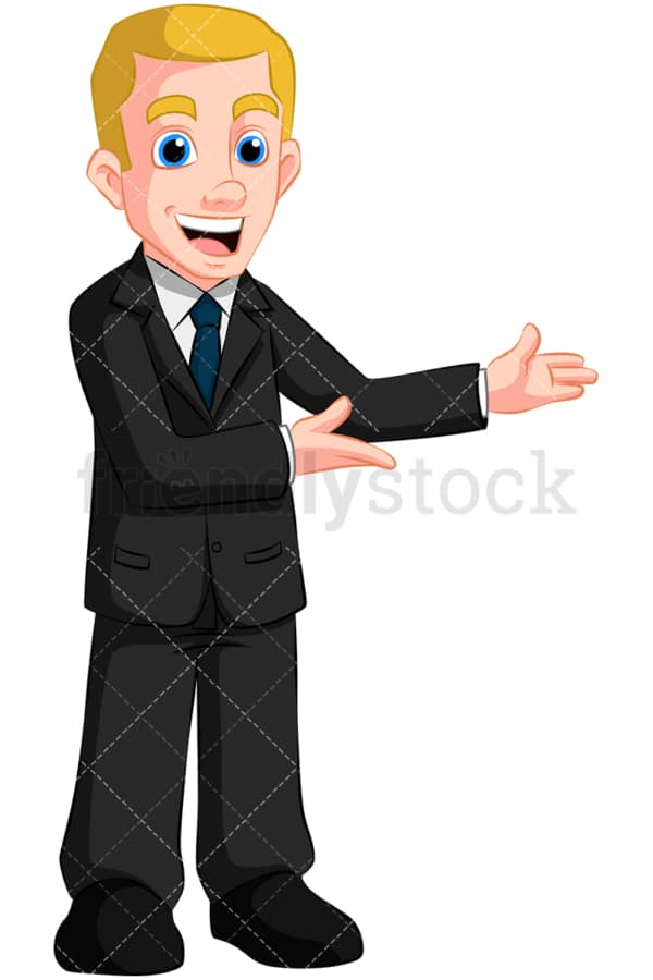 Happy business man presenting - Image isolated on transparent background. PNG