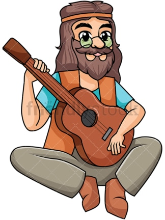 Hippie playing guitar. PNG - JPG and vector EPS file formats (infinitely scalable). Image isolated on transparent background.