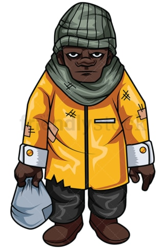 Homeless african-american man. PNG - JPG and vector EPS file formats (infinitely scalable). Image isolated on transparent background.