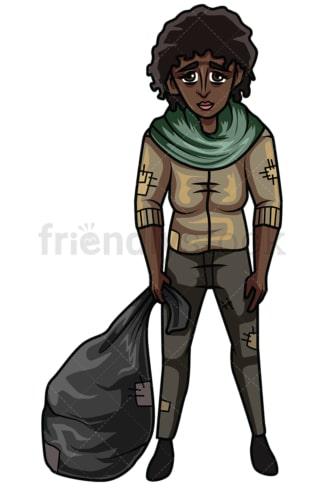 Homeless african american woman. PNG - JPG and vector EPS file formats (infinitely scalable). Image isolated on transparent background.