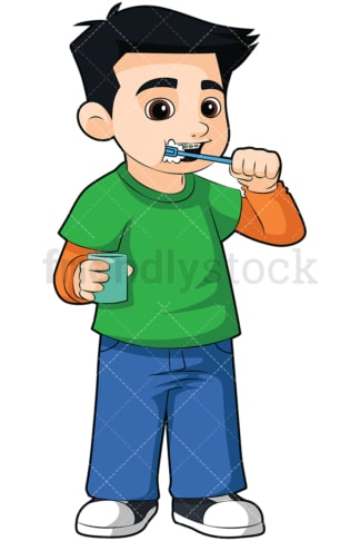 Little boy brushing his braces - Image isolated on transparent background. PNG