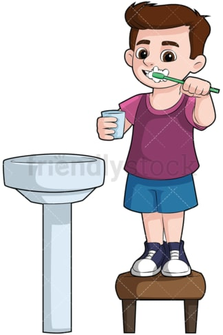 Little boy brushing his teeth in the sink - Image isolated on transparent background. PNG