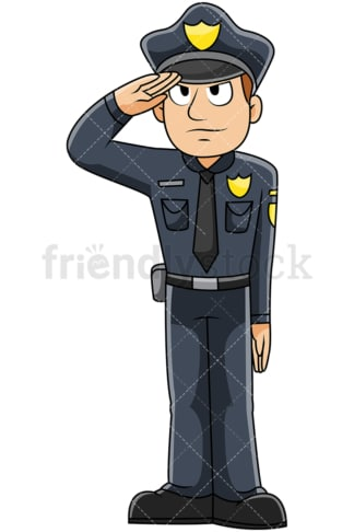 Male police officer saluting - Image isolated on transparent background. PNG