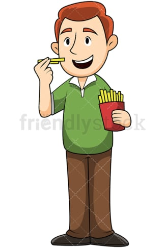 Man eating french fries - Image isolated on transparent background. PNG