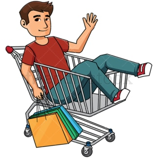Man inside shopping cart holding bags - Image isolated on transparent background. PNG