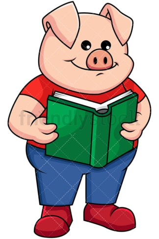 Pig reading a book - Image isolated on transparent background. PNG
