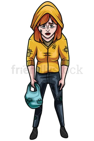 Tired homeless woman. PNG - JPG and vector EPS file formats (infinitely scalable). Image isolated on transparent background.