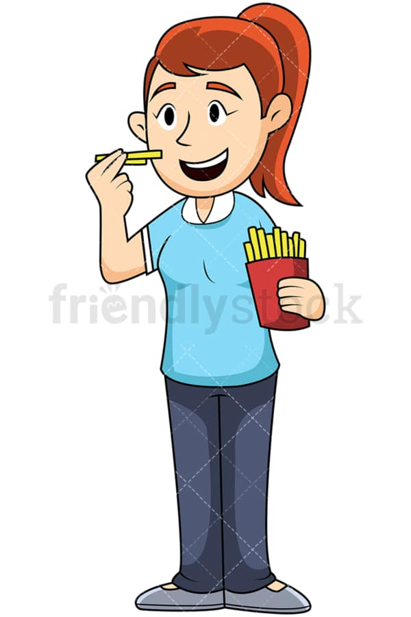 Woman eating french fries - Image isolated on transparent background. PNG