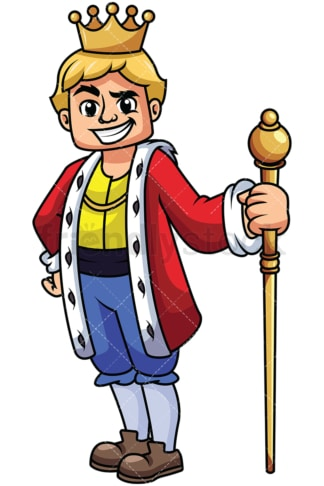 Young king holding scepter - Image isolated on transparent background. PNG