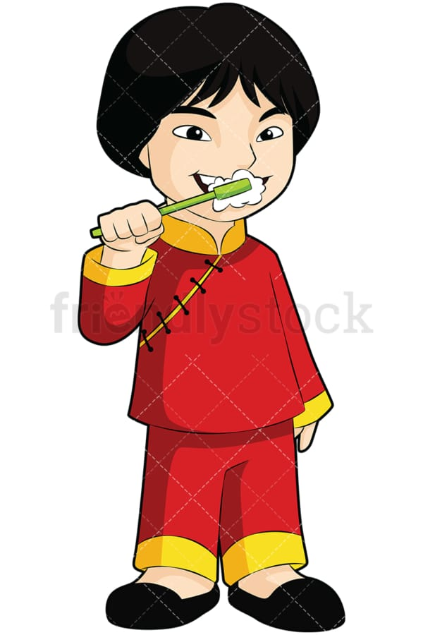 Asian boy brushing his teeth - Image isolated on transparent background. PNG