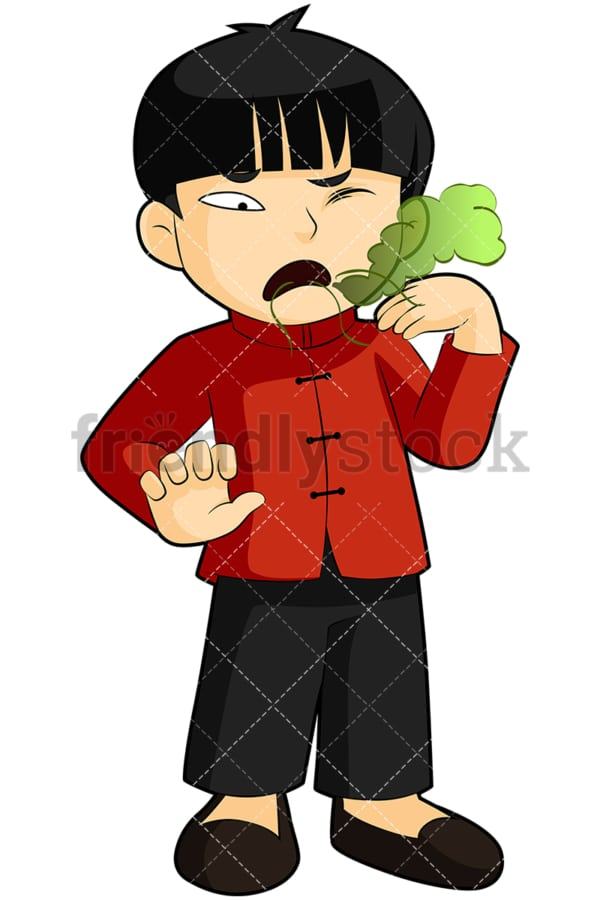 Asian boy with bad morning breath - Image isolated on transparent background. PNG