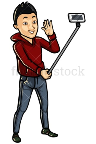 Asian man taking photo with selfie stick - Image isolated on white background. Transparent PNG and vector (infinitely scalable) EPS