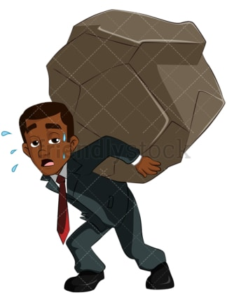 Black business man carrying heavy weight - Image isolated on transparent background. PNG