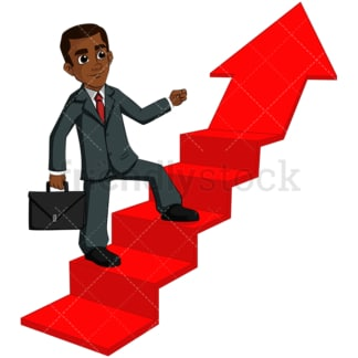 Black business man climbing arrow - Image isolated on transparent background. PNG