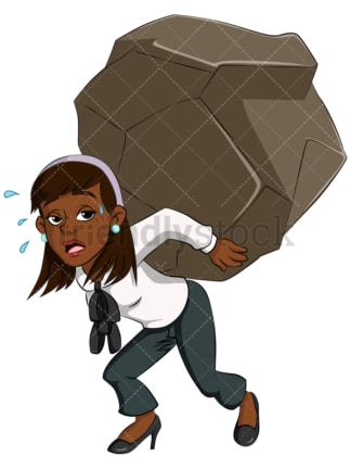 Black business woman carrying heavy weight - Image isolated on transparent background. PNG