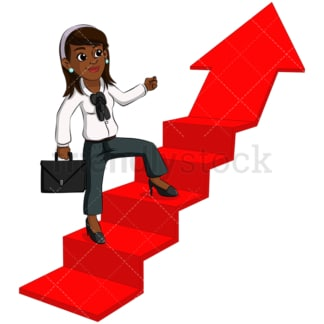 Black business woman climbing up stairs - Image isolated on transparent background. PNG